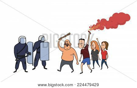 Street riots and protests. Protesting people are confronting the police. Vector illustration, isolated on white background.