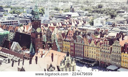 Panorama of the Central square in Wroclaw, in the retro style, tilt-shift effect