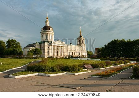 Kolomna, Moscow Region, Russia. Orthodox Church. Church Of Michael Archangel On Sunset Of Sun Summer.
