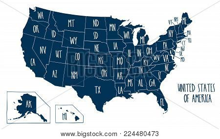 Hand drawn vector map of the United States of America. Sketch illustration with all 50 states