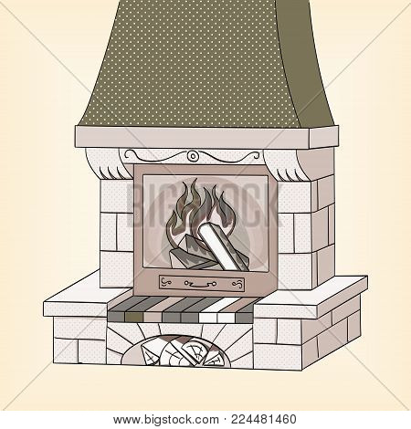 Object on white background vector illustration. Shades of gray. A brick fireplace burns a tree. Works and heats. The background is red.