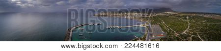 Panoramic View Over The Small Fishing And Tourist Town Of Gansbaai In The Overberg In South Africa,
