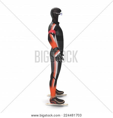 Ice speed skater uniform on white background. Side view. 3D illustration