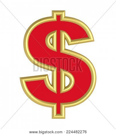 Dollar sign from red with gold shiny frame alphabet set, isolated on white. 3D illustration.