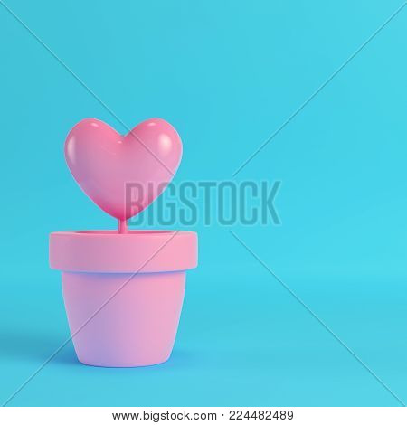 Pink heart in the pots on red box on bright blue background in pastel colors. Minimalism concept. 3d render