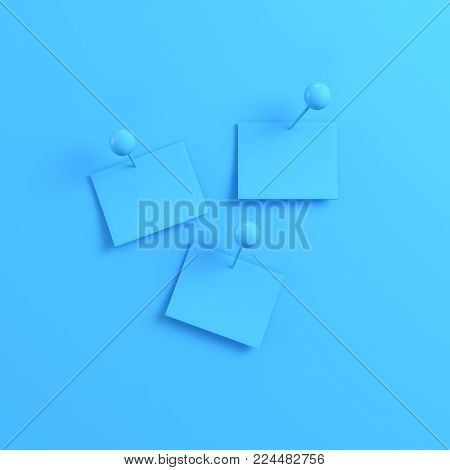 Notes on bright blue background. Minimalism concept. 3d render