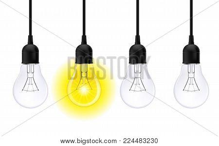 Light bulb illuminated. Stylish Bulbs Conceptual Digital Idea Design Background, Light bulb banner on White Background