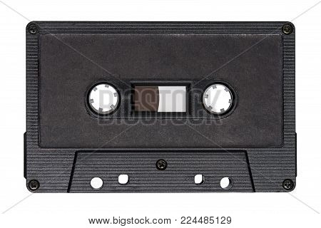 Retro black audio tape isolated on white background