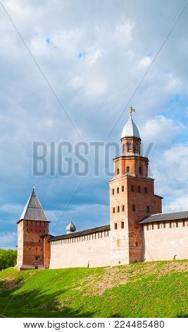 Veliky Novgorod, Russia. Intercession and Kokui towers of Veliky Novgorod Kremlin fortress, Russia, view in spring day