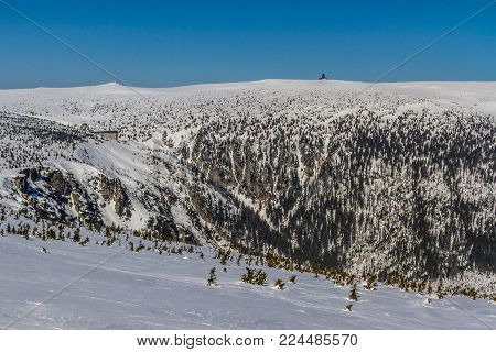 Panorama Of Snow Holes With Labska Bouda And Wawel Transmitter - Krkonose (giant Mountains), Czech R