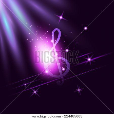 Radiant neon music Treble Clef on dark ultraviolet illuminated background. Disco, jazz, pop, concert, club, song, rhythm