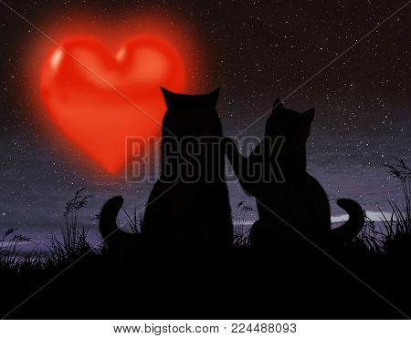 Two cats in love sit in the moonlight. The moon looks like a big red heart.