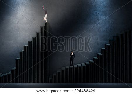 two men on a 3d abstract staircase one is successful and the other loses