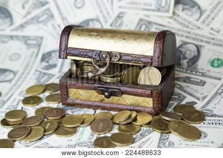 An Old Chest With Money.
