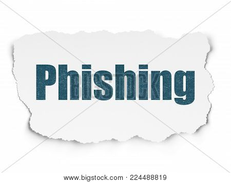 Protection concept: Painted blue text Phishing on Torn Paper background with Scheme Of Binary Code