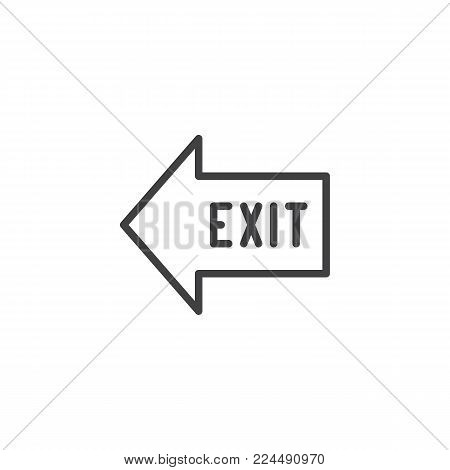 Exit arrow line icon, outline vector sign, linear style pictogram isolated on white. Emergency exit symbol, logo illustration. Editable stroke