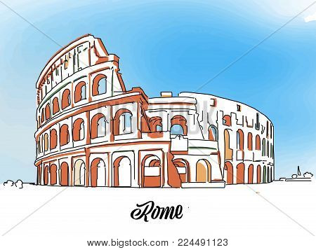 Rome Colloseum Sketch. Layout for Greeting Card and Banner Design. Marketing Sketch