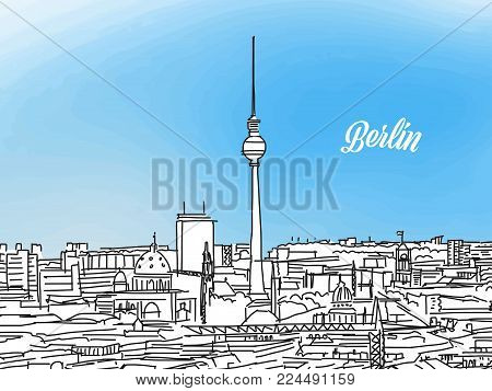 Berlin Black and White Panorama Banner. Layout for Greeting Card and Banner Design. Marketing Sketch