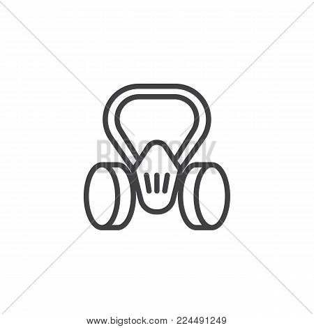Gas mask line icon, outline vector sign, linear style pictogram isolated on white. Respirator symbol, logo illustration. Editable stroke