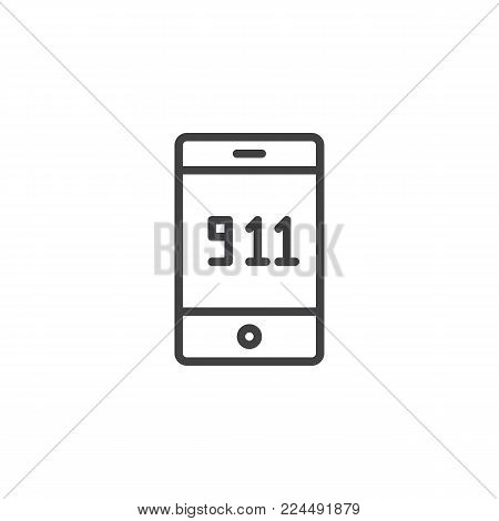 Emergency call 911 line icon, outline vector sign, linear style pictogram isolated on white. Mobile phone with 911 on screen symbol, logo illustration. Editable stroke