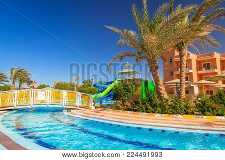 HURGHADA, EGYPT - APR 13, 2013: Tropical resort Three Corners Sunny Beach in Hurghada. Three Corners is Belgian company with 11 hotels at Red Sea in Egypt and one in Budapest, Hungary.