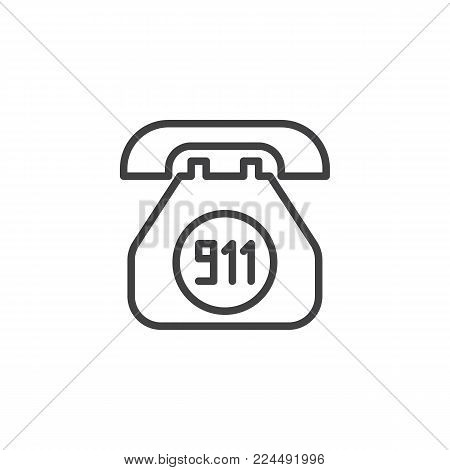Emergency call line icon, outline vector sign, linear style pictogram isolated on white. Old phone with 911 number symbol, logo illustration. Editable stroke