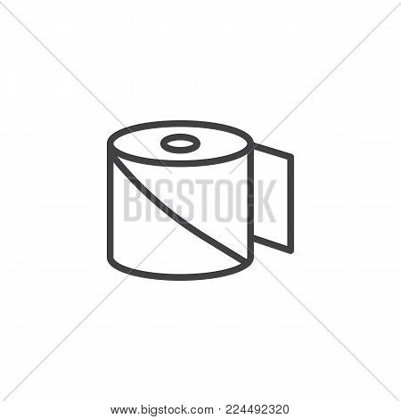 Bandage line icon, outline vector sign, linear style pictogram isolated on white. Medical roll plaster aid symbol, logo illustration. Editable stroke