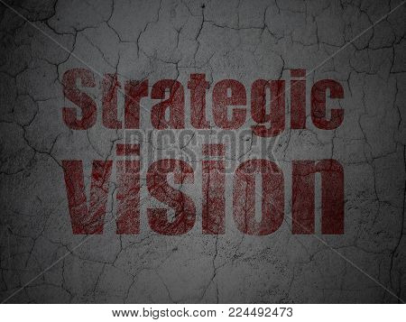 Business concept: Red Strategic Vision on grunge textured concrete wall background