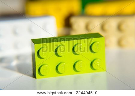 Prague, Czech Republic - January 31: Colorful Lego Bricks By The Lego Group Isolated On White Backgr