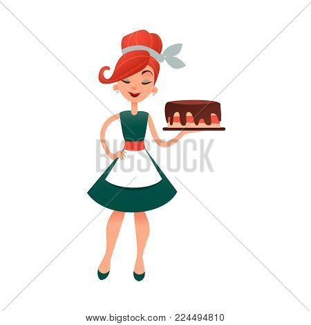 Funny cartoon housewife with cake. Happy vector homemaker with bakery product. Beautiful woman in old retro style. Young lady baking pie