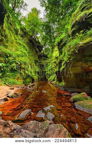Finnich Glen, also known as Devil's Pulpit near Loch Lomond, Scotland, United Kingdom. Hdr processed.