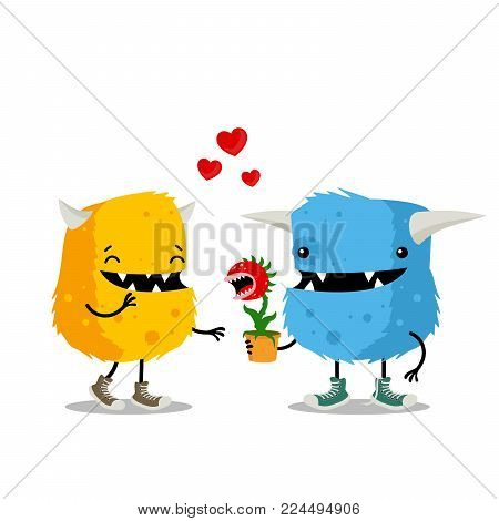 Couple of monsters celebrating Valentine`s Day with carnivorous plant as a gift. Cute cartoon greeting card on white background