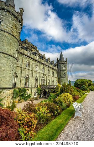 INVERARAY, SCOTLAND, UNITED KINGDOM - SEPTEMBER 8, 2015 : Inveraray Castle in western Scotland, on the shore of Loch Fyne. It has been the seat of the Duke of Argyll, chief of Clan Campbell.