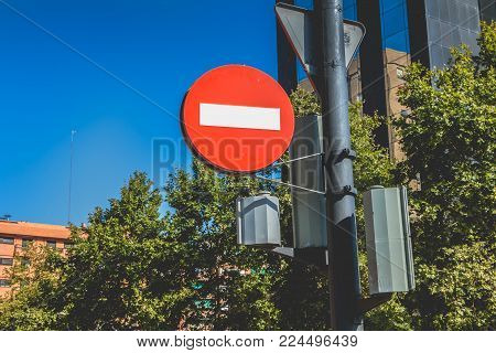 VALENCIA, SPAIN - June 18, 2017 : No entry sign for vehicular traffic in the city center on a summer day