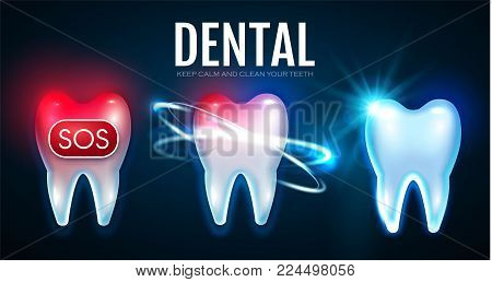 Tooth Treatment Process with Motion Lights. Toothache Healthy Tooth. Stomatology Design Template. Dental Health Concept. Oral Care. Vector illustration