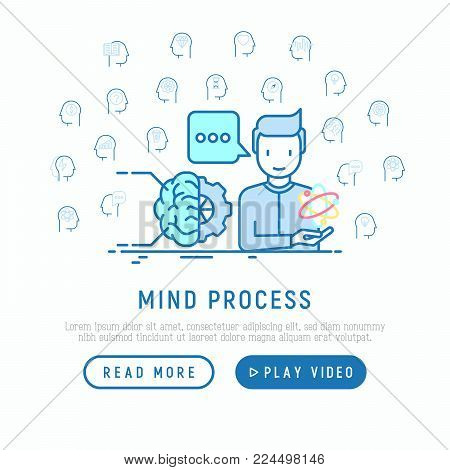 Mind process concept with thin line icons: intelligence, passion, conflict, innovation, time management, exploration, education, logical thinking. Modern vector illustration, web page template.