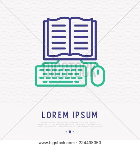 E-book thin line icon: opened book with keyboard and mouse. Modern vector illustration of online education.