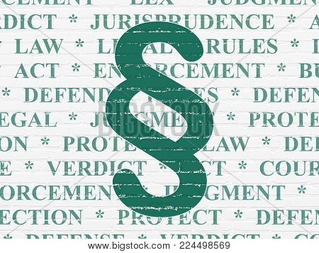 Law concept: Painted green Paragraph icon on White Brick wall background with  Tag Cloud