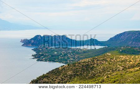 Landscape of Lake Heraion (Vouliagmeni) and Cape Ireon, washed by the Corinthian Gulf. Greece.