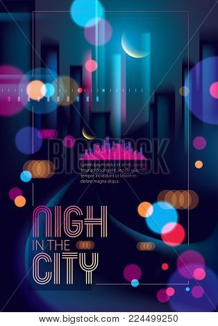 Night City With Blurred Lights Bokeh Texture Vector Illustration. Blur Colorful Dark Background With