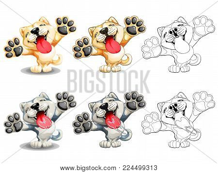 The set of slime dogs of a Akita Inu, yellow red and gray with white standing on hinder legs. The variants of colorfull and contour line. A cartoon vector illustration isolated on white.