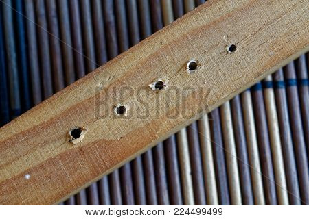 Wooden planks with holes isolated on bamboo background