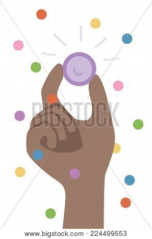 Fun and Safe Carnival - African American male hand holding purple condom with fingers. Safe sex and Confetti. Isolated vector illustration