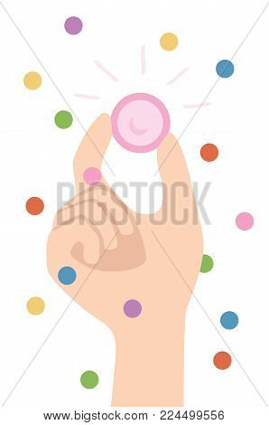Fun and Safe party - Hand holding pink condom with fingers. Safe sex and Confetti. Isolated vector illustration