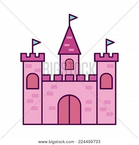 Pink princess castle. Cartoon princess castle isolated on white background. Vector stock.