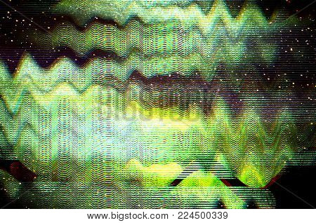 Glitch Cosmic background. Old TV screen error. Digital pixel noise abstract design. Photo glitch. Television signal fail. Technical problem grunge wallpaper. Colorful noise.