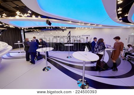 MOSCOW, RUSSIA - OCT 31, 2017: Participants of annual conference of Kommersant Publishing House on e-commerce, online sales and multichannel networks at rest zone of Mercury Space hall.