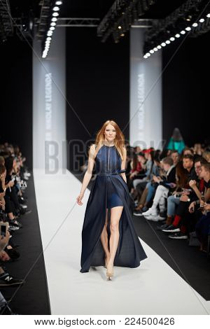 MOSCOW, RUSSIA - OCT 24, 2017: Catwalk with models in Manege during performing designer Nikolay Legenda collection at Mercedes Benz Fashion Week Russia spring-summer 2018.