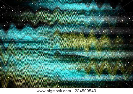 Glitch Space background. Old TV screen error. Digital pixel noise abstract design. Photo glitch. Television signal fail. Technical problem grunge wallpaper. Colorful noise.