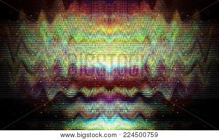 Glitch universe background. Old TV screen error. Digital pixel noise abstract design. Photo glitch. Television signal fail. Technical problem grunge wallpaper. Colorful noise.